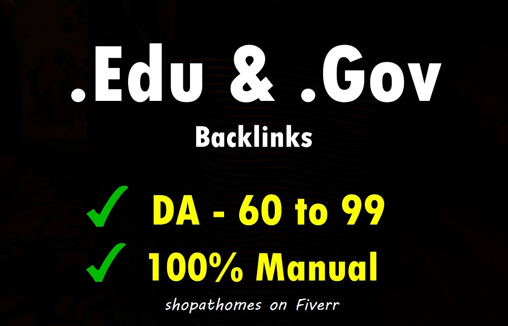25 edu gov high domain autority backlinks da 60 plus